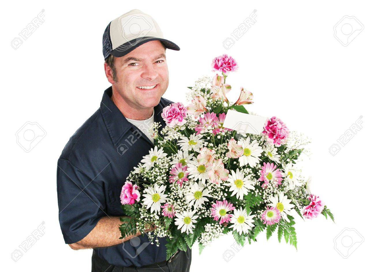 Flower Delivery Man Holding A Beautiful Mothers Day Bouquet... Stock ...