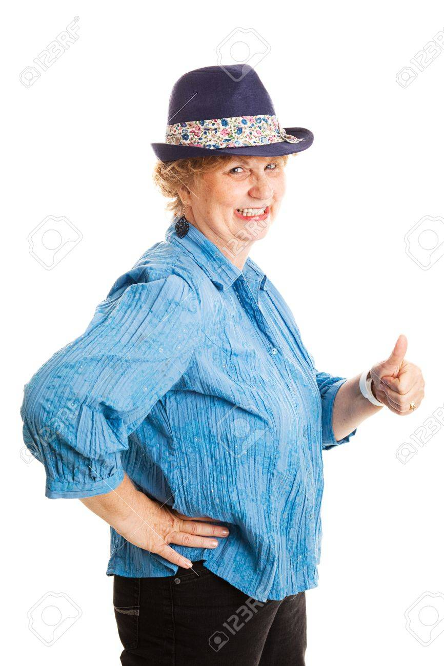 mature plus size woman giving thumbs up and smiling . isolated