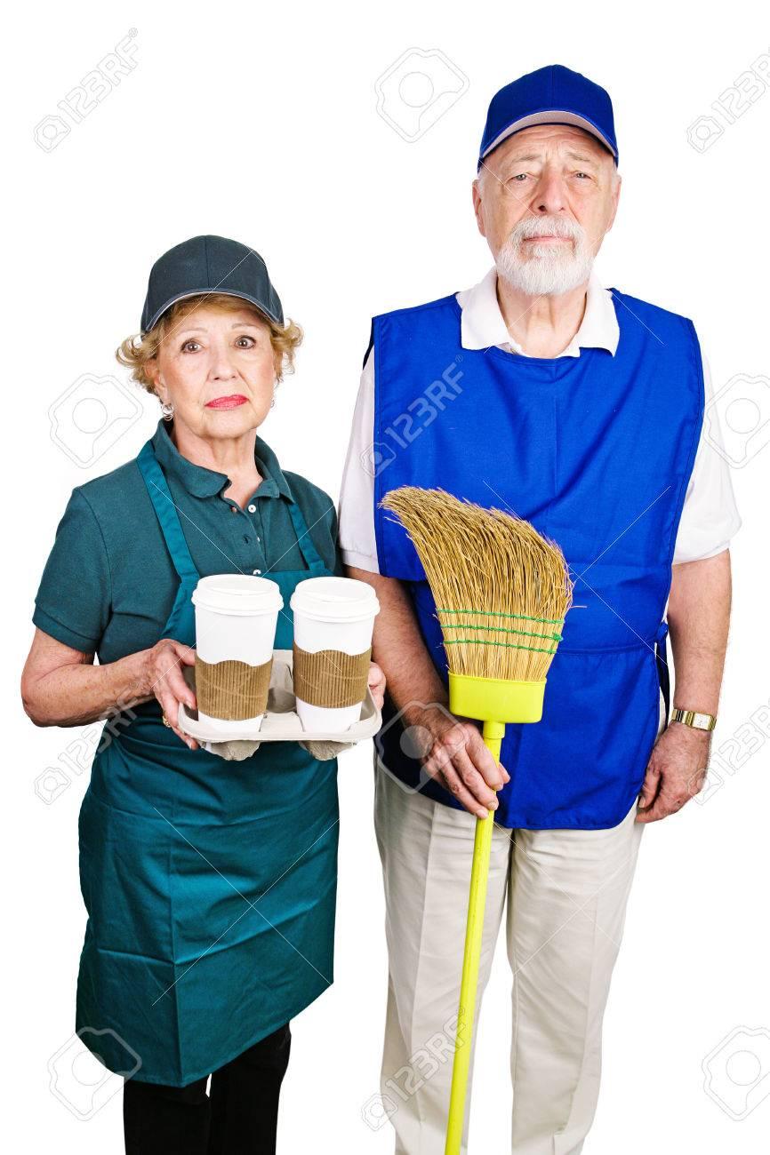 senior couple working minimum wage jobs because they lost their senior couple working minimum wage jobs because they lost their retirement income isolated on white