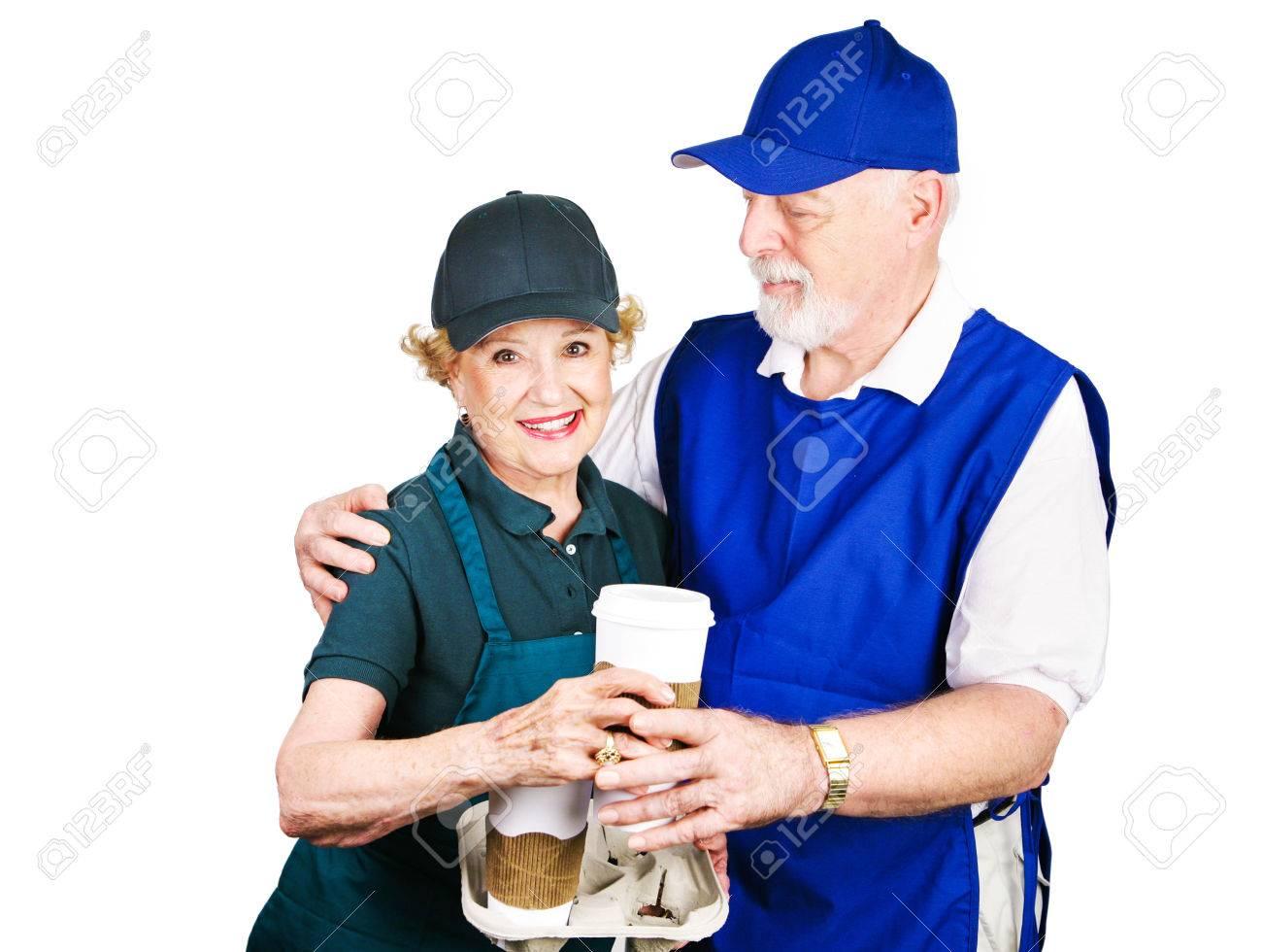 senior couple working minimum wage jobs to supplement retirement senior couple working minimum wage jobs to supplement retirement income isolated on white stock