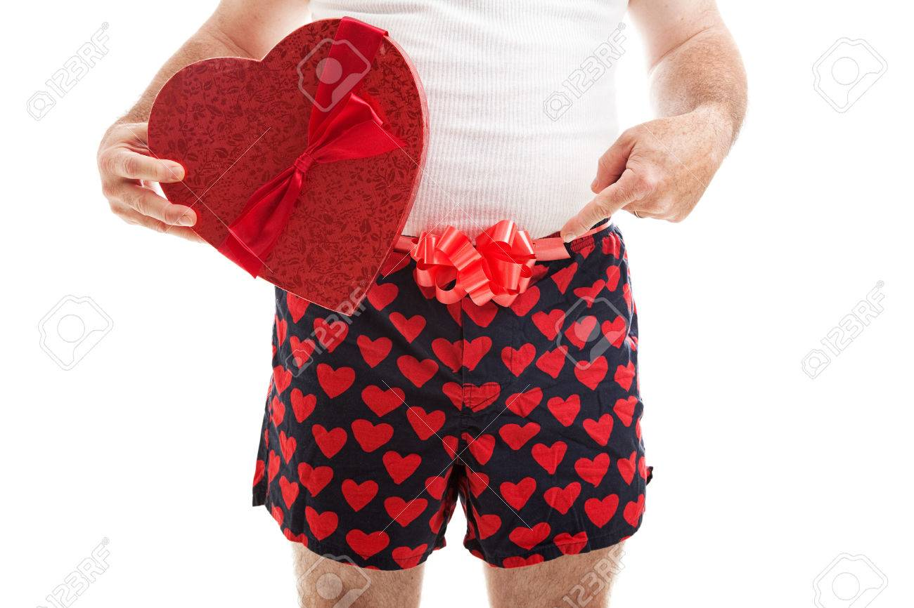 Guy In His Underwear With A Valentines Day Gift And A Bow Around