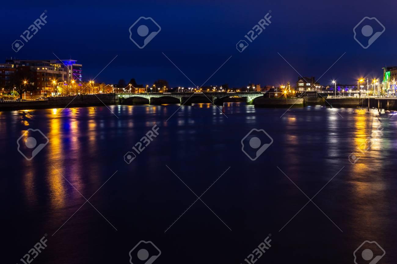City lights at Shannon river, Limerick, Ireland