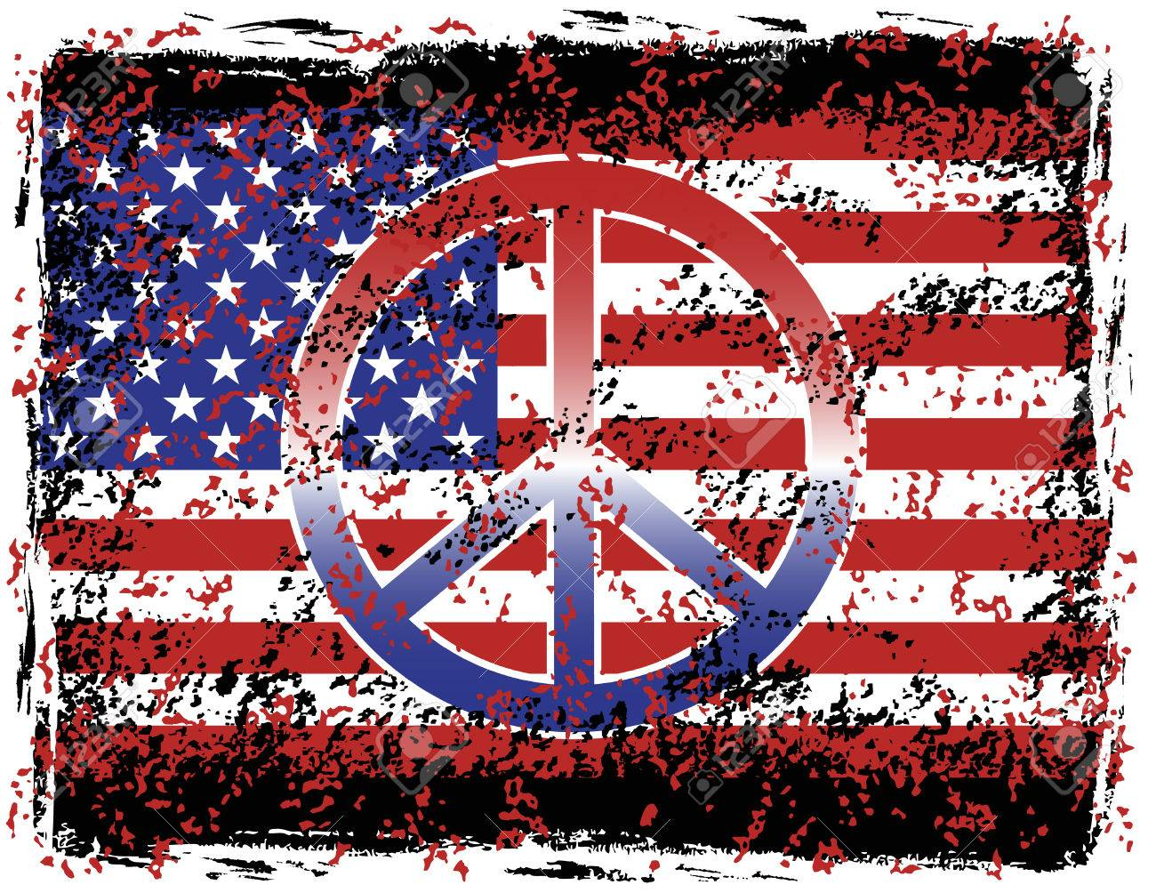 Illustration of a grunged american flag and peace symbol royalty illustration of a grunged american flag and peace symbol stock vector 4574544 biocorpaavc