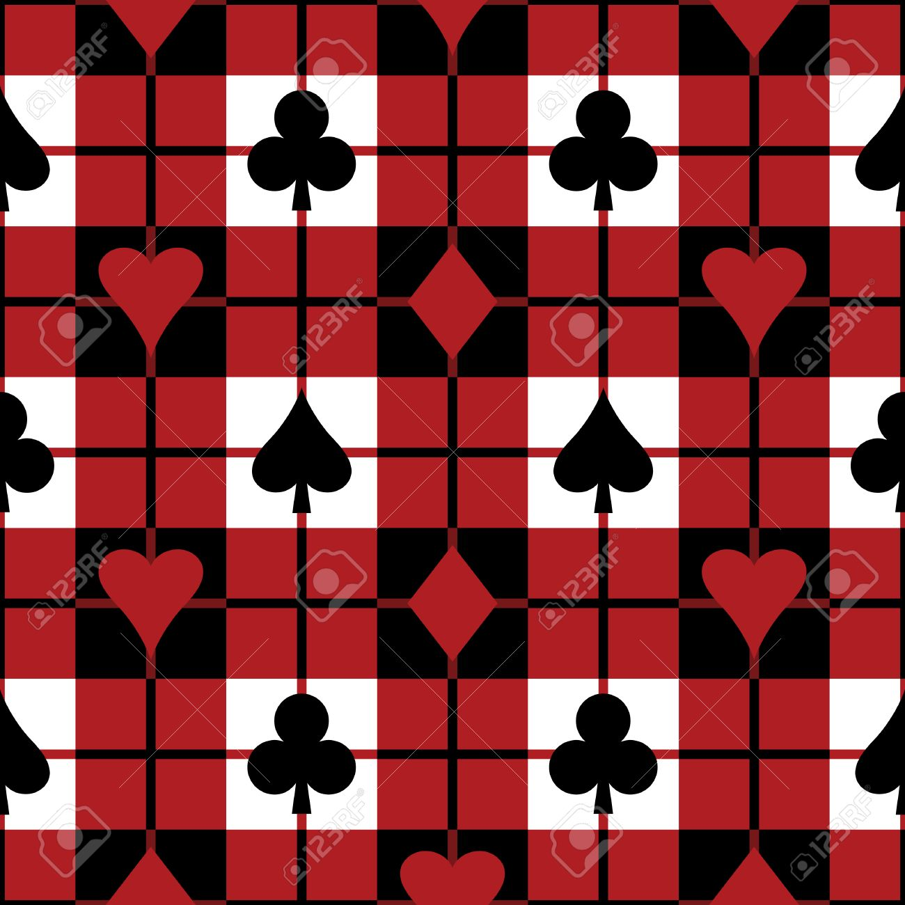 Seamless plaid pattern with the four playing card suits. Repeats 12 inches. Stock Vector - 5170032