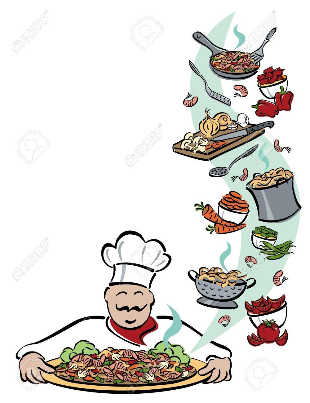 illustration of a chef presenting a platter of shrimp with pasta rh 123rf com Cherry Clip Art Steam Clip Art