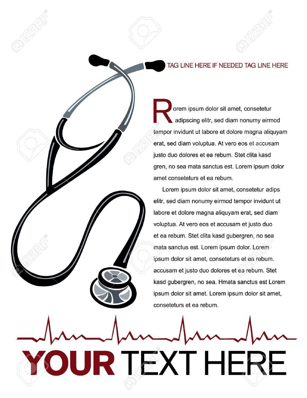 Vector healthcare page layout with stethoscope and heart graph illustrations. Stock Vector - 9755958