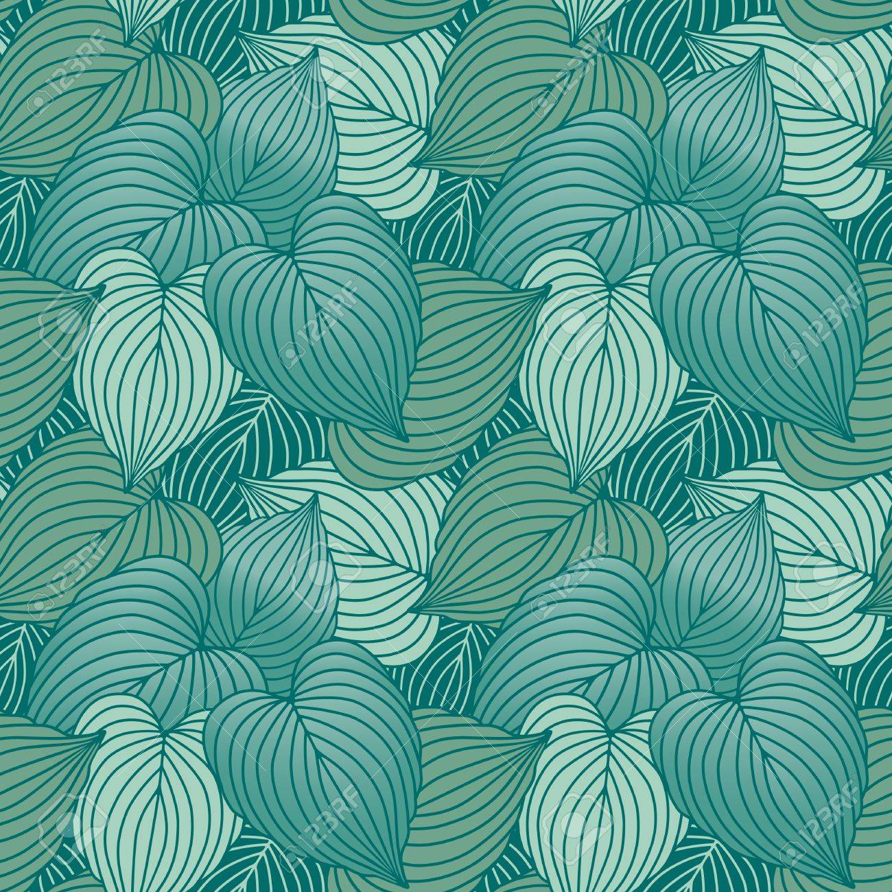 Vector Seamless Pattern Of Blue Green Hosta Plants Royalty Free