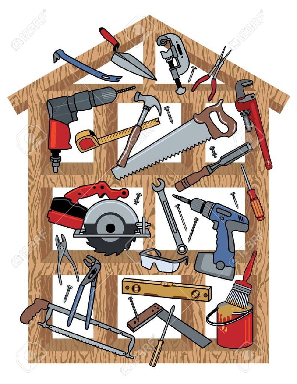 construction tools in wood frame house royalty free cliparts