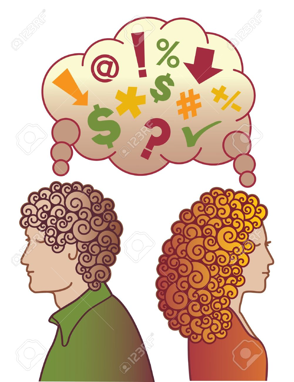 A couple upset and not speaking to one another, thinking bad thoughts. Stock Vector - 9755922