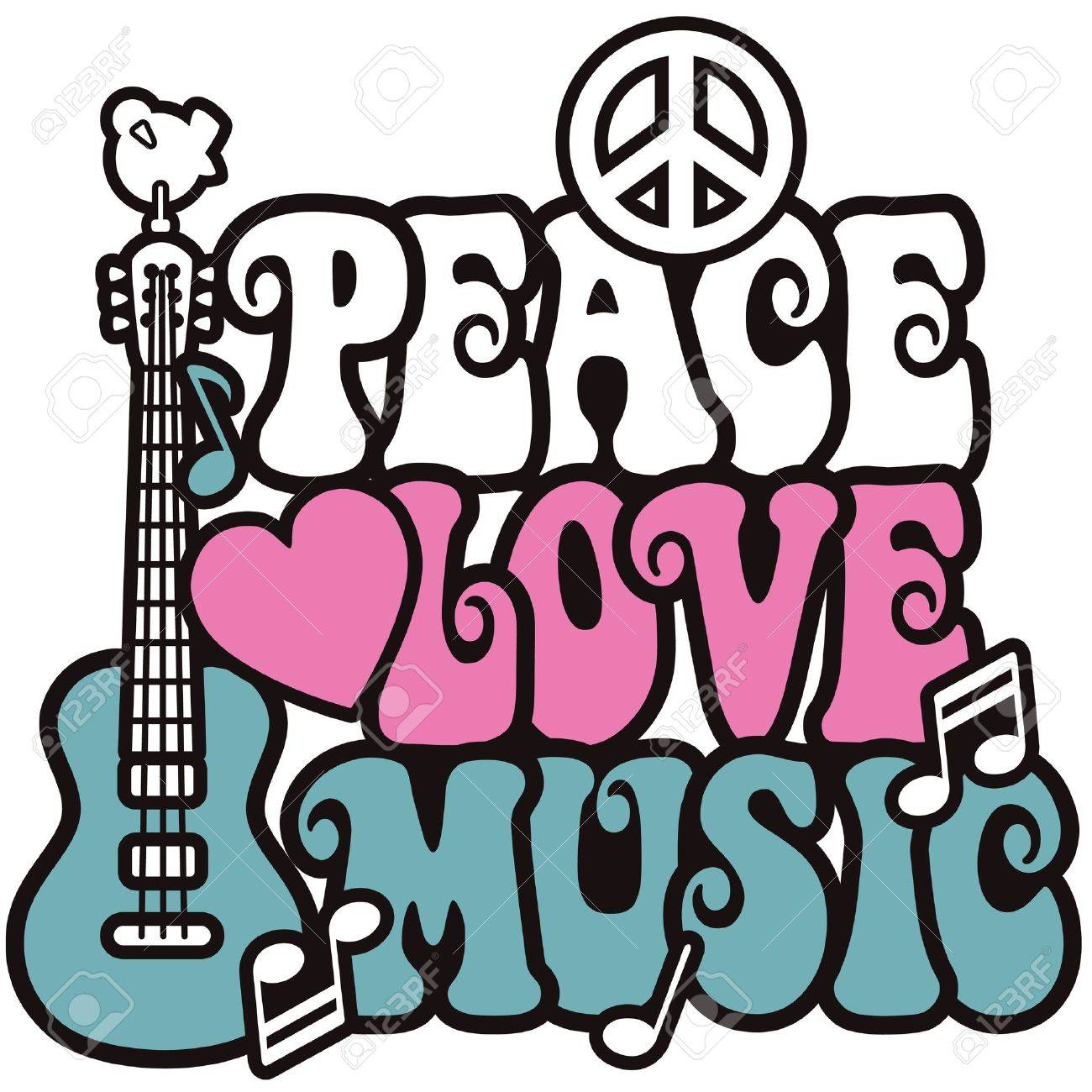 Retro Style Design Of A Guitar Peace Symbol And Dove With The