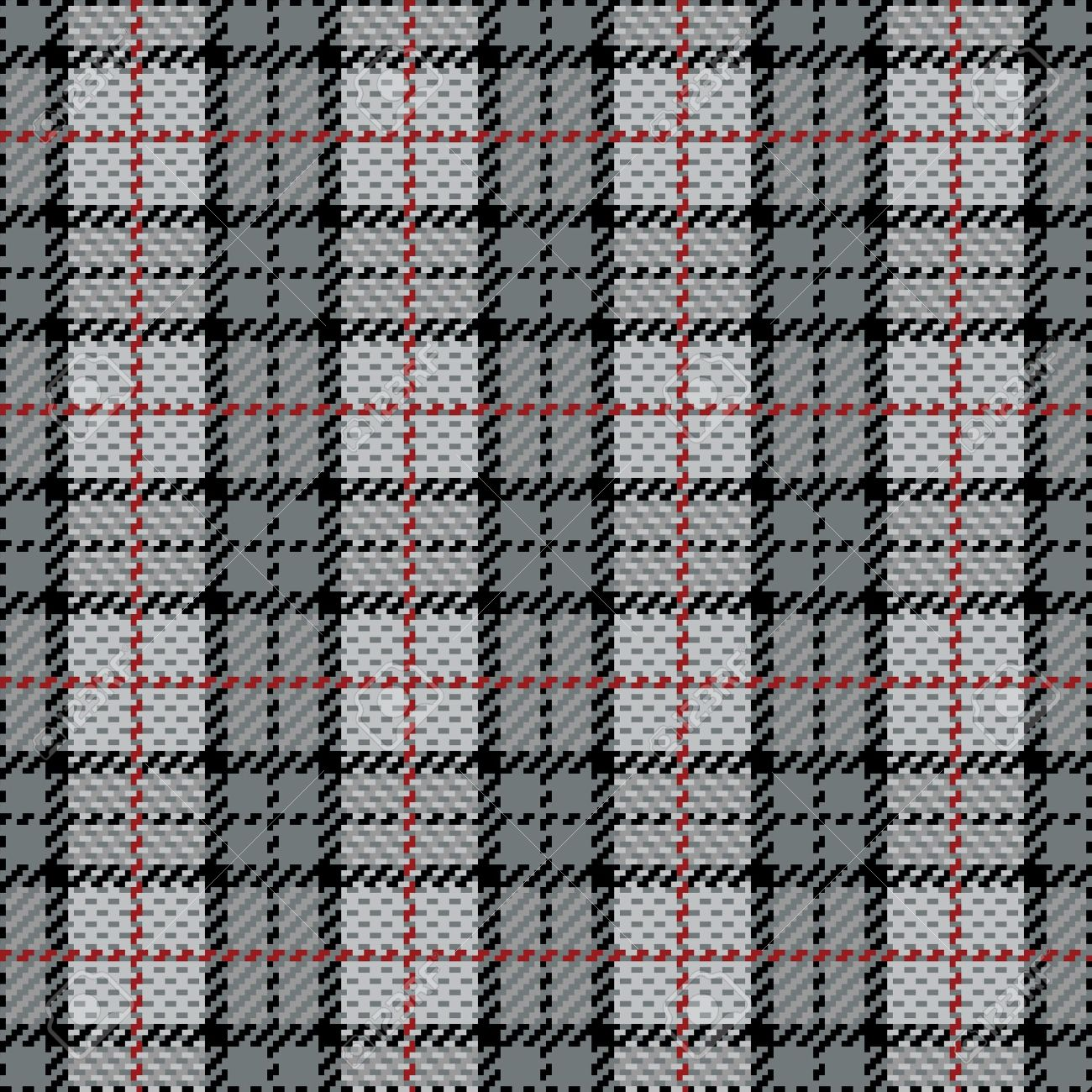 Vector seamless plaid pattern in gray with red stripe