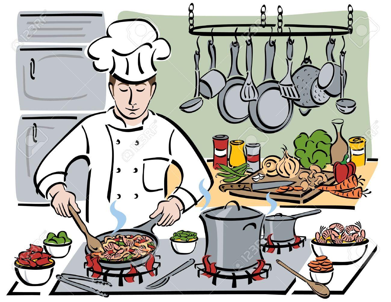 Koch bei der arbeit clipart  Ein Professioneller Koch Bereitet Garnelen Mit Nudeln Und Gemüse In ...