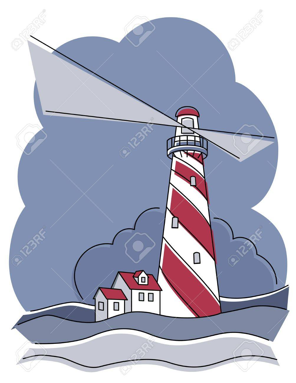 Vector illustration of a red and white swirly striped lighthouse. Stock Vector - 9756034