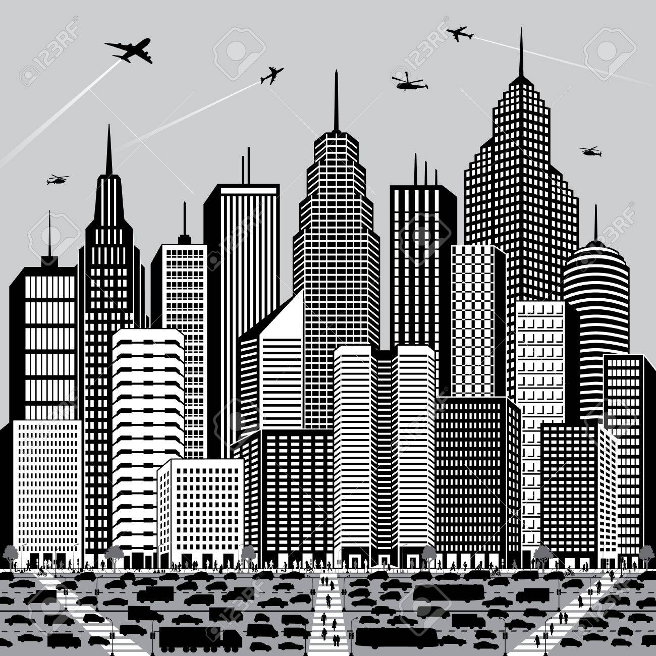 Vector illustration of a generic cityscape with people and vehicles. Stock Vector - 9756074