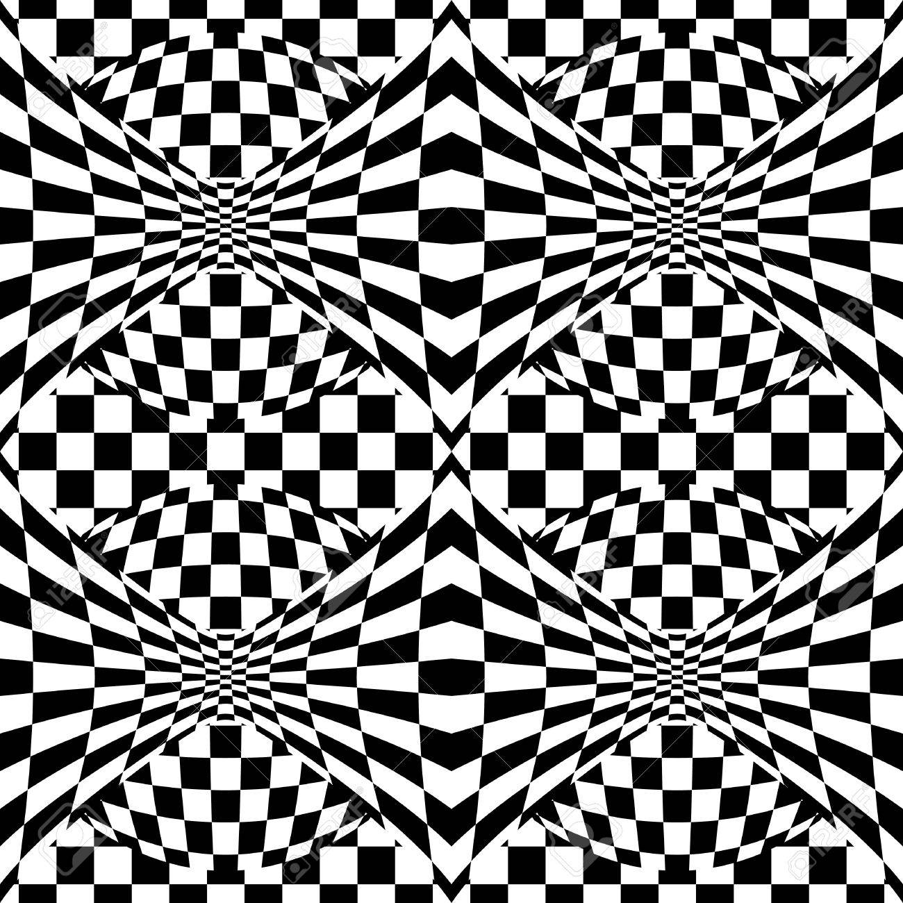 Seamless op art background pattern #1. Stock Vector - 9756077
