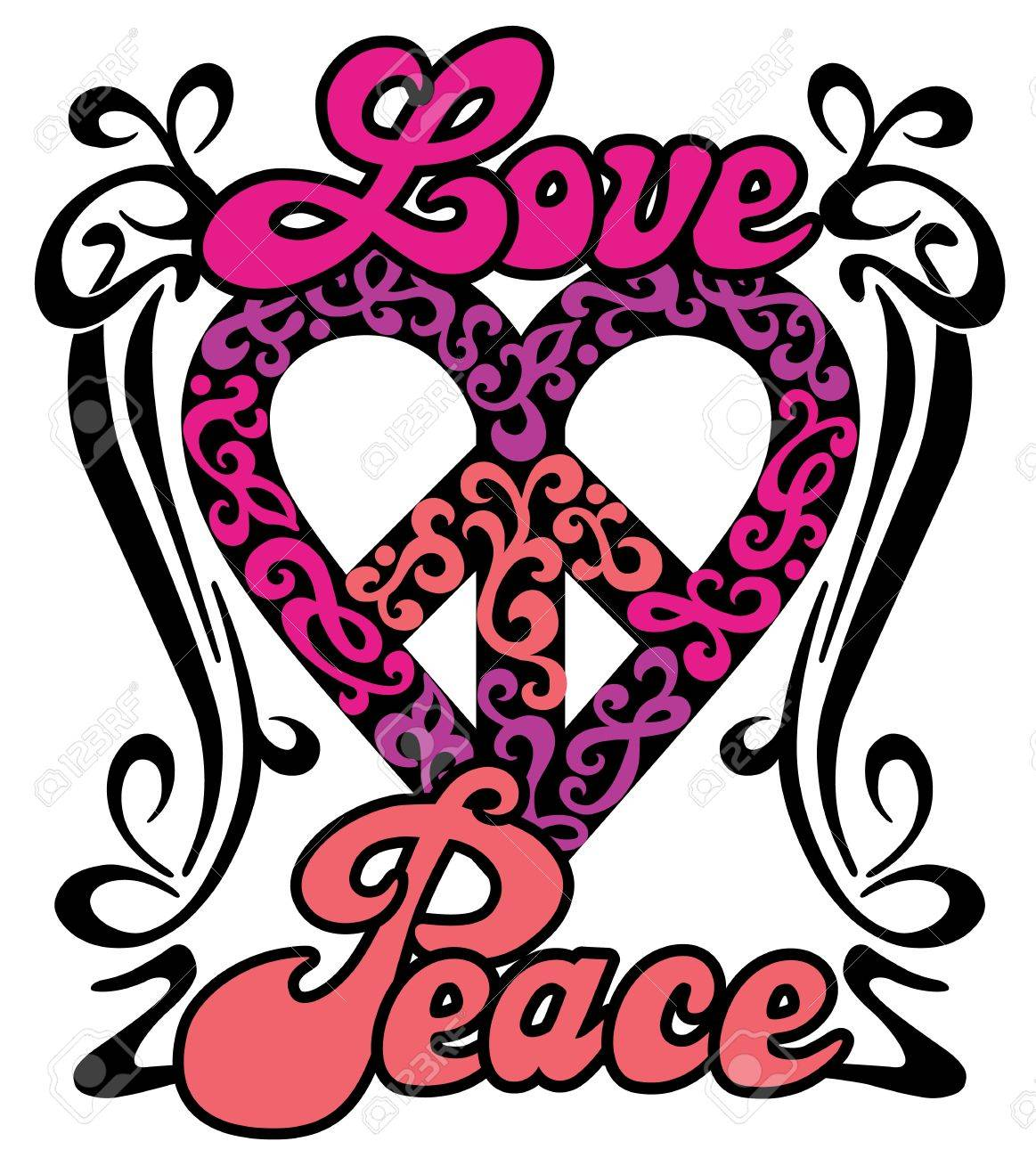 Love Peace Heart Retro Design Of A Love Peace Symbol With The Words