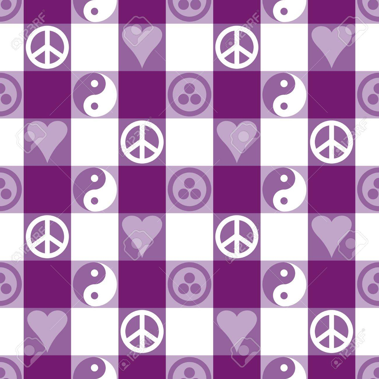 Peace Plaid in Purple seamless pattern in blue with Yin Yang, heart and peace symbols and Banner of Peace  Pax Cultura, Roerich s Pact Stock Vector - 19869970