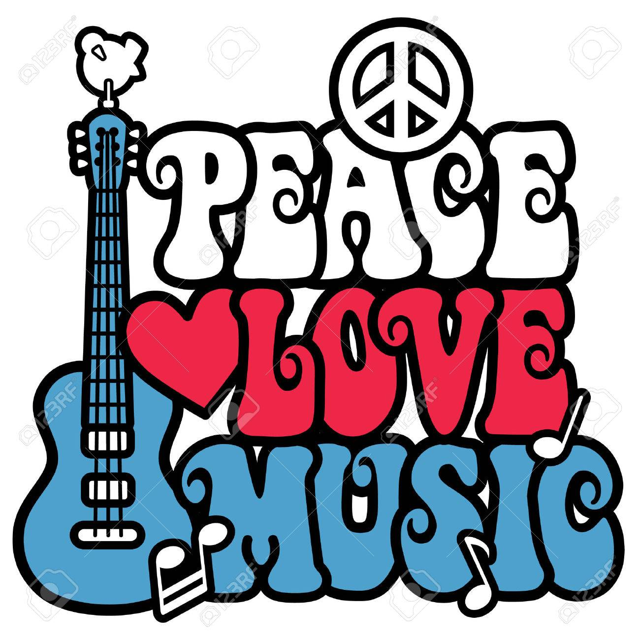Peace love music design with guitar dove peace symbol heart peace love music design with guitar dove peace symbol heart and musical notes biocorpaavc