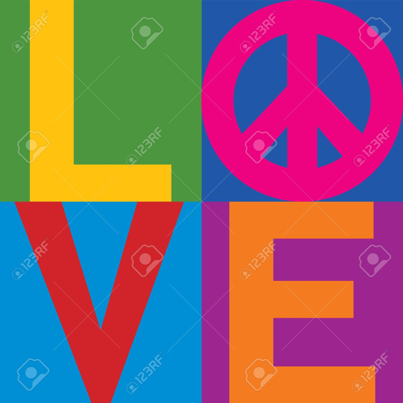type design of love with peace symbol in a stacked color block