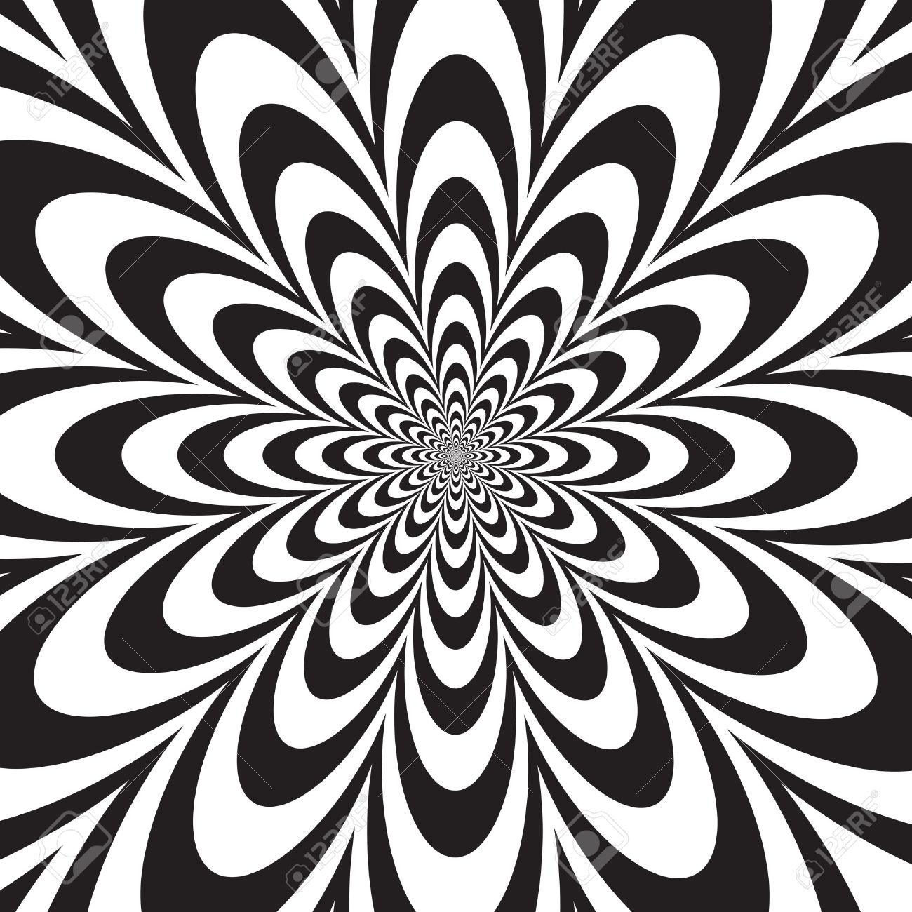 Infinite Flower Op Art Design In Black And White Royalty Free
