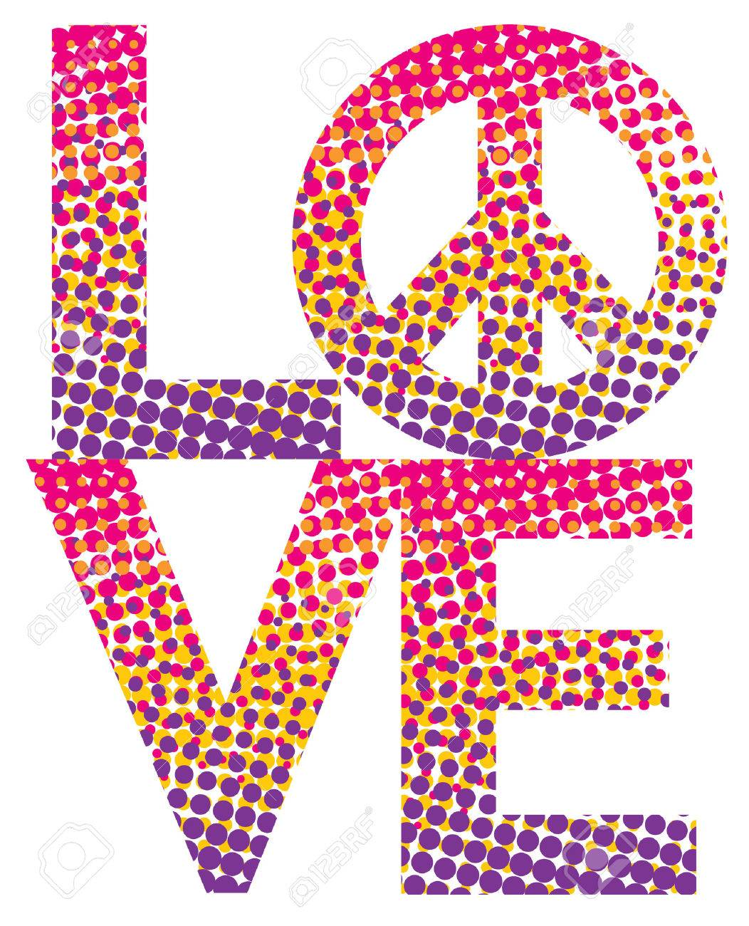 Love With A Peace Symbol In A Colorful Haltone Dot Pattern Royalty