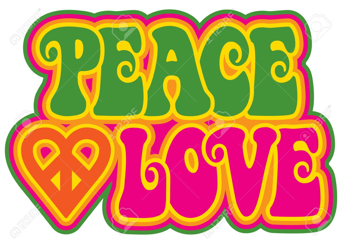 Peace and Love retro-styled text design with a peace heart symbol in green, pink, yellow and orange. - 58180853