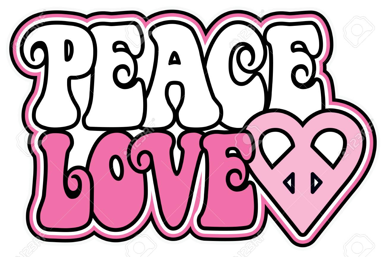 Retro Styled Text Design Of Peace And Love With A Peace Heart