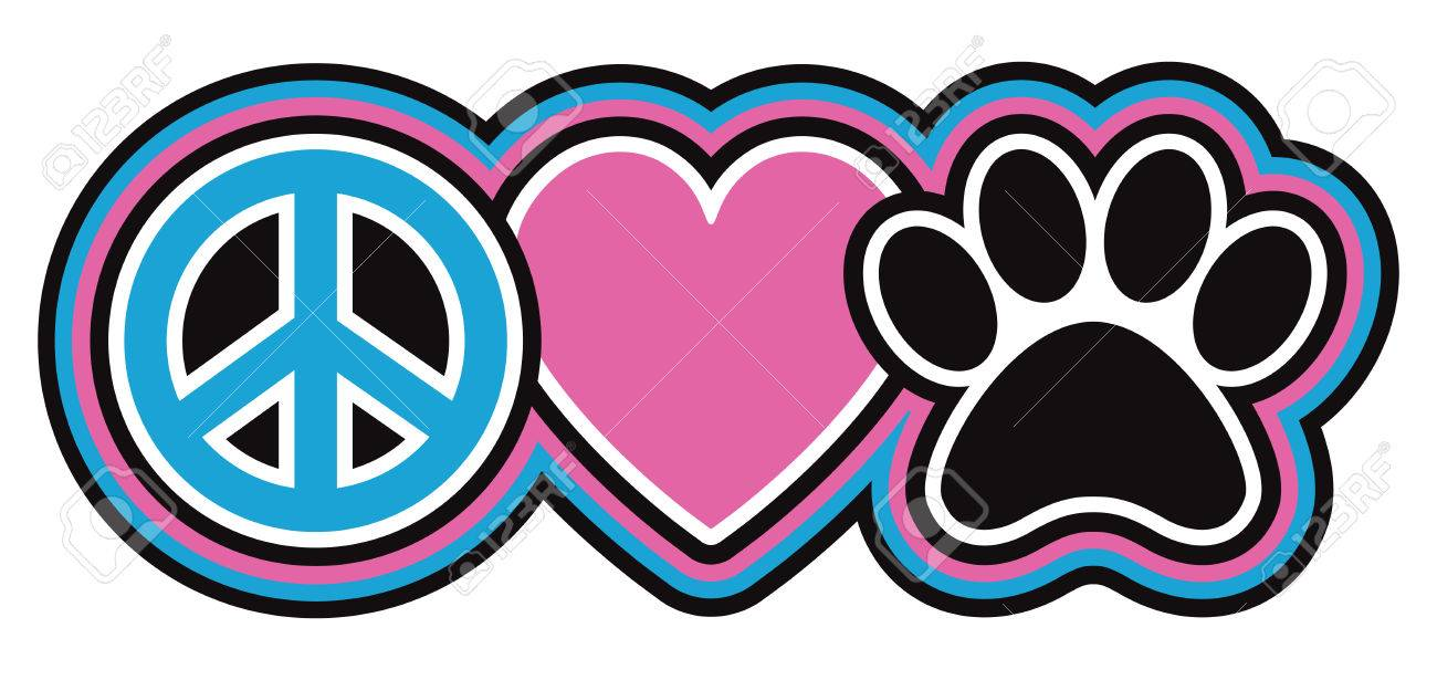 Retro styled icon design of a peace symbol heart and pet paw retro styled icon design of a peace symbol heart and pet paw print in biocorpaavc