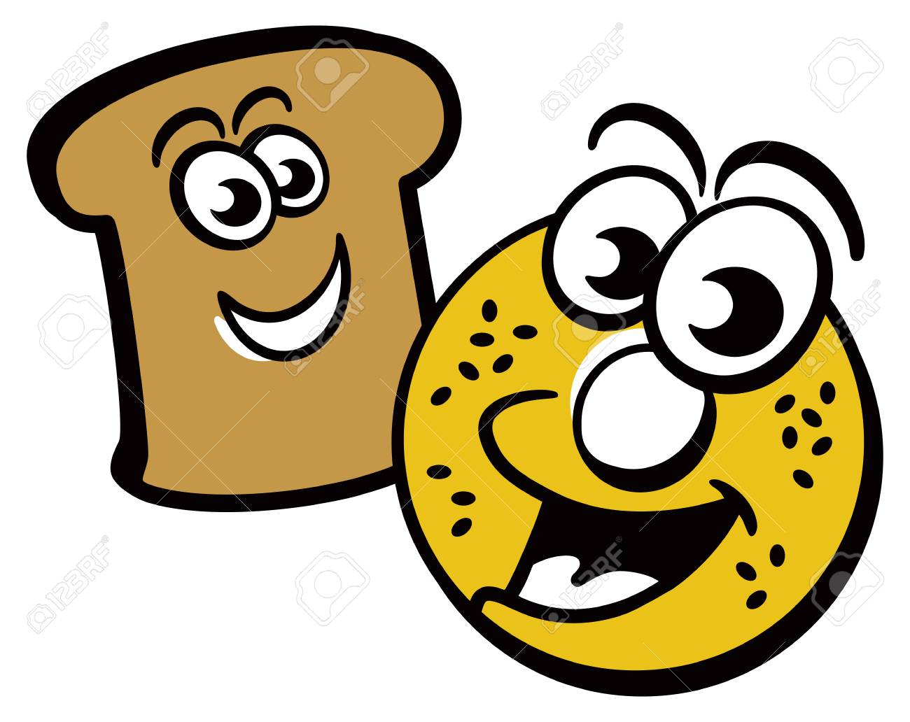 cartoon of a happy bagel and piece of toast royalty free cliparts rh 123rf com bagel graphics clipart bagel clipart free