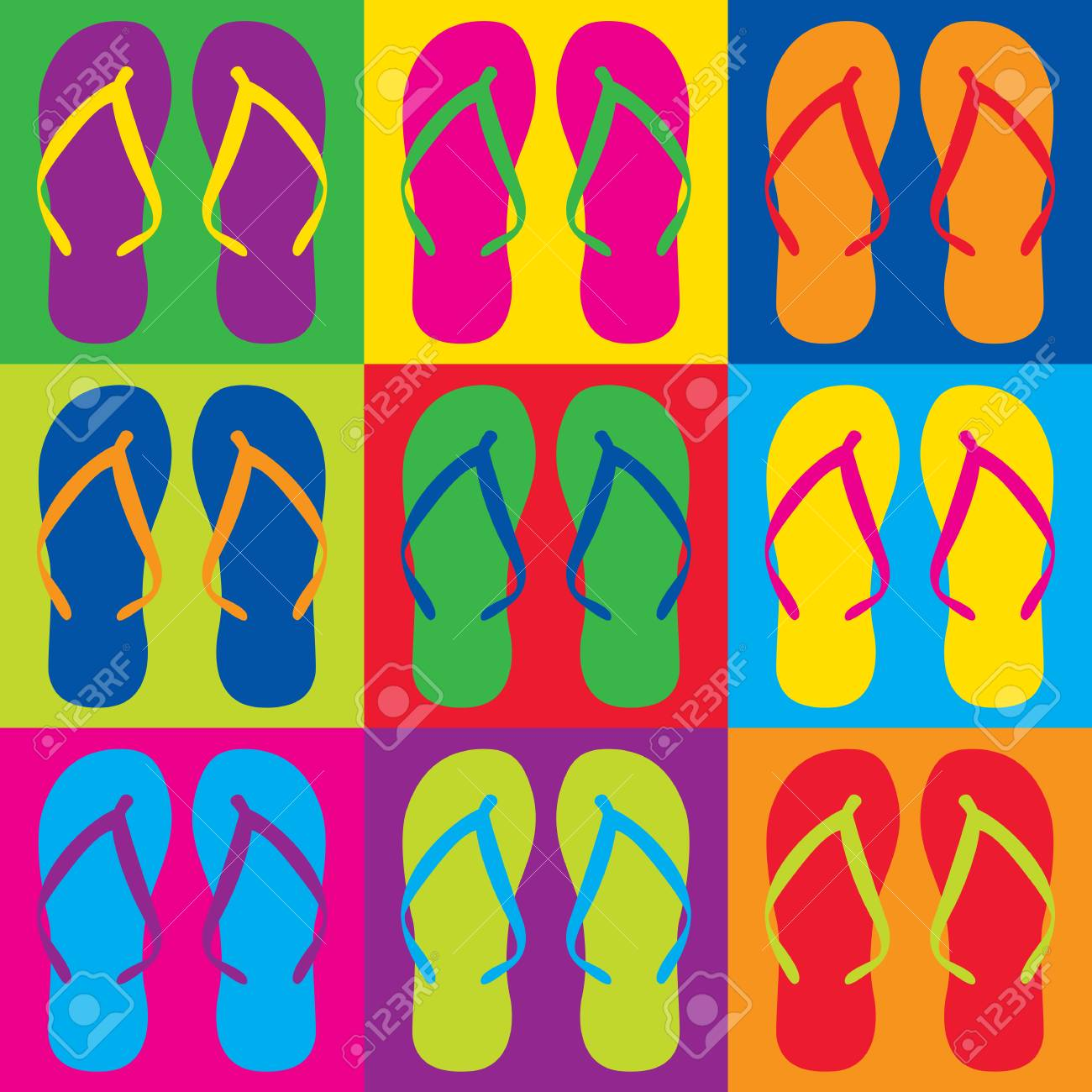 be9b9dd19 Colorful flip flops in a Pop Art-style checkerboard design. Stock Vector -  90773889