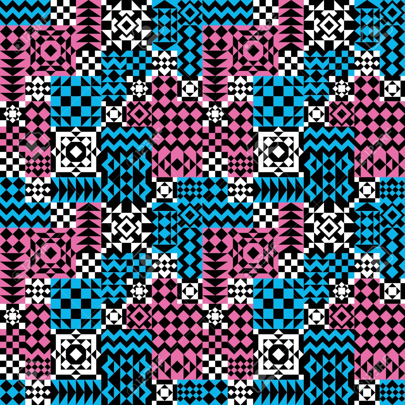 4-Tile Repeat Pattern Of Assorted Geometric Shapes In Pink, Blue ...
