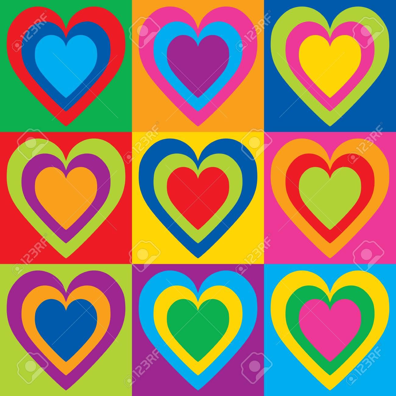 d5b5b8ad7 Pop Art Hearts in a colorful checkerboard design. Stock Vector - 90032240
