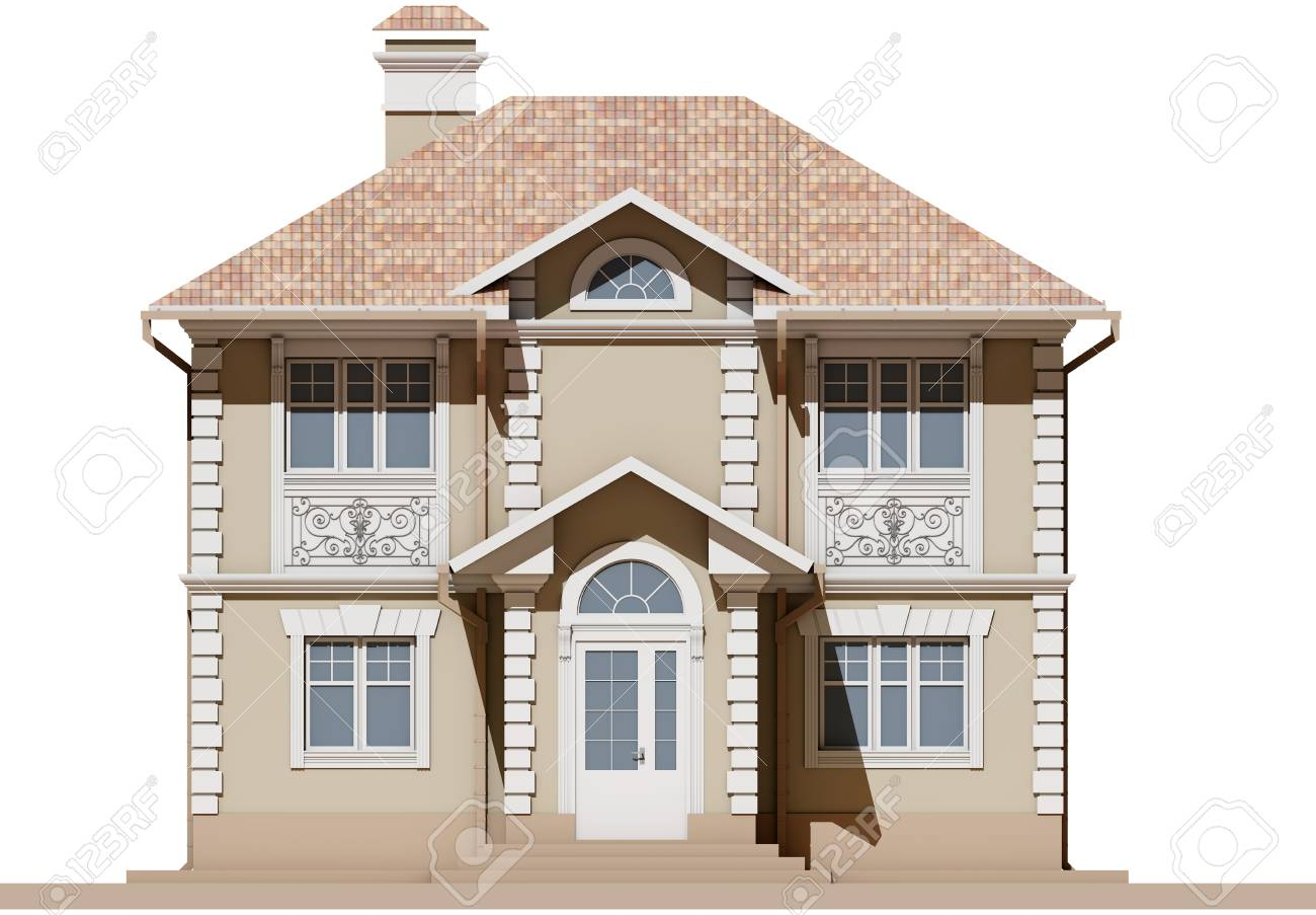 Stock Photo - The main facade of a residential beige and symmetrical house