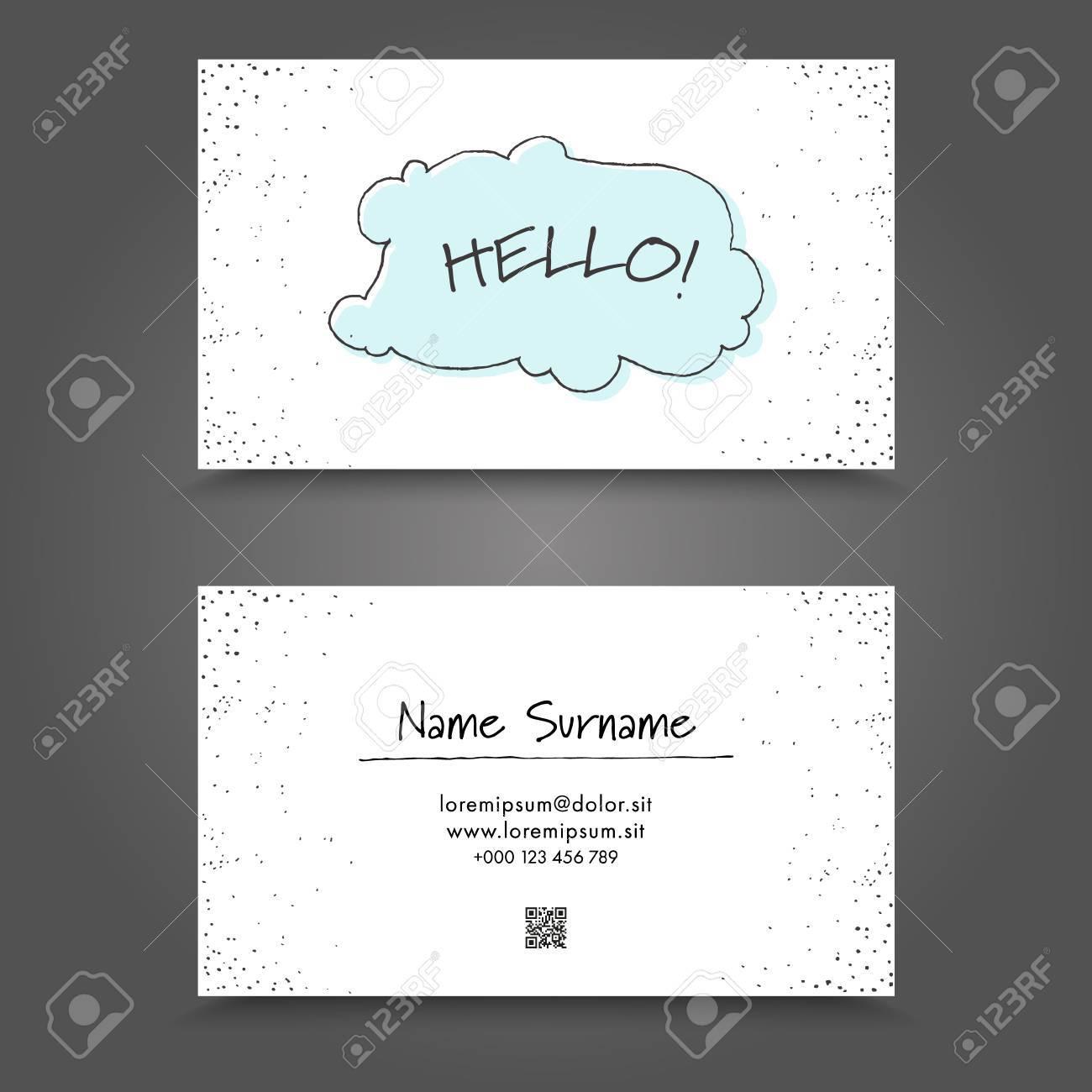 Carte De Visite Avec Handdrawing Cadre Drle Handdraw Business Card