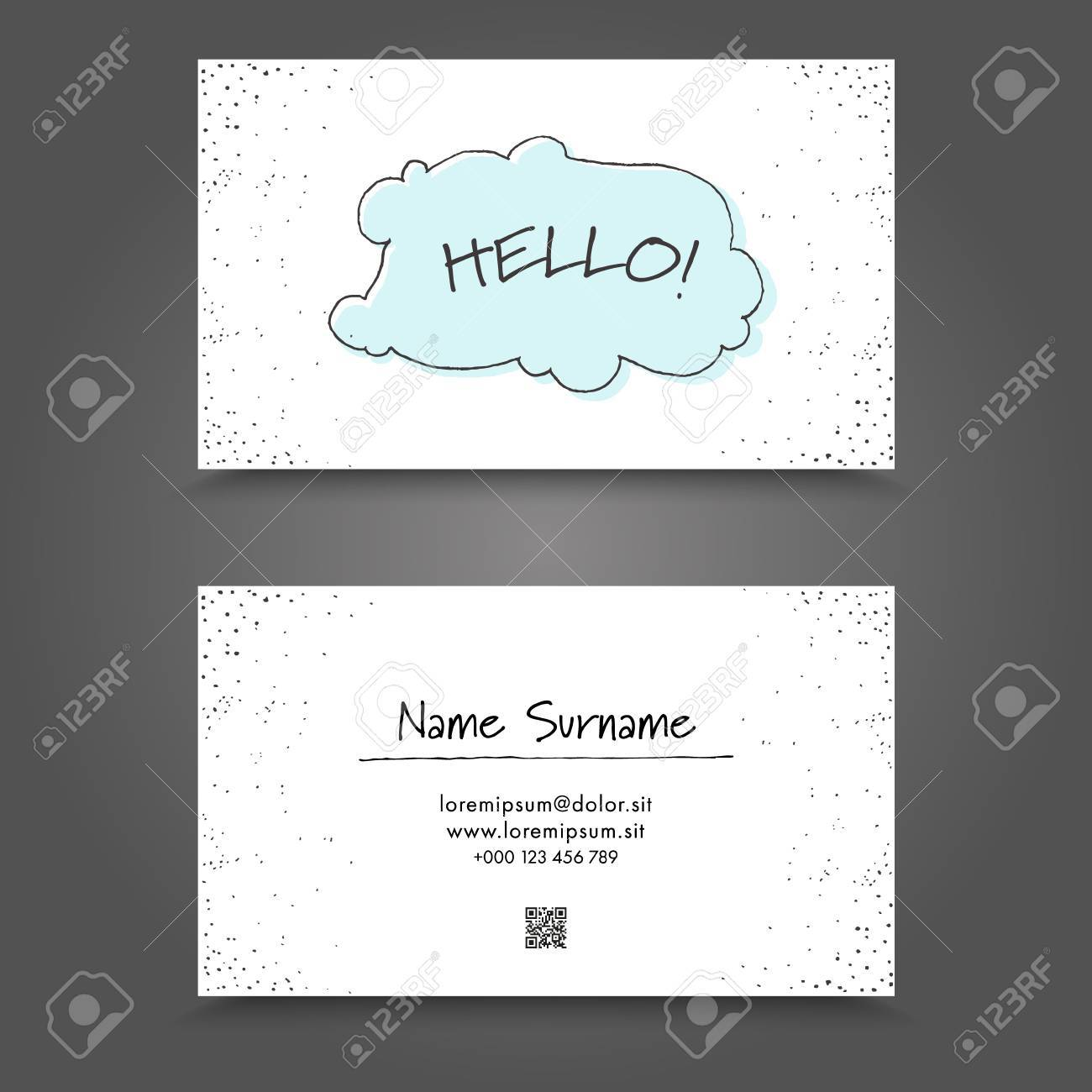Visit Card With Handdrawing Funny Frame. Handdraw Business Card ...