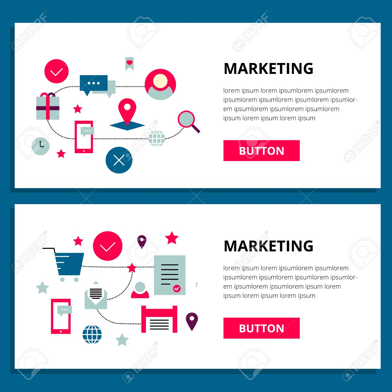 One Page Banner Web Design Template With Thin Line Outline Icons Of Viral Marketing