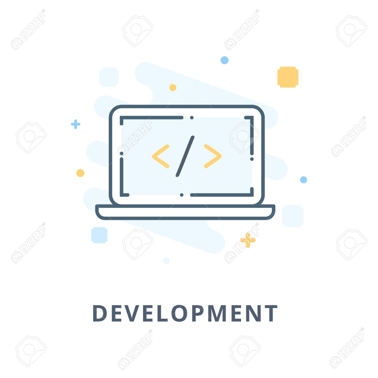 Creative Web Design Development Flat Icon Design Illustration Royalty Free Cliparts Vectors And Stock Illustration Image 57655439
