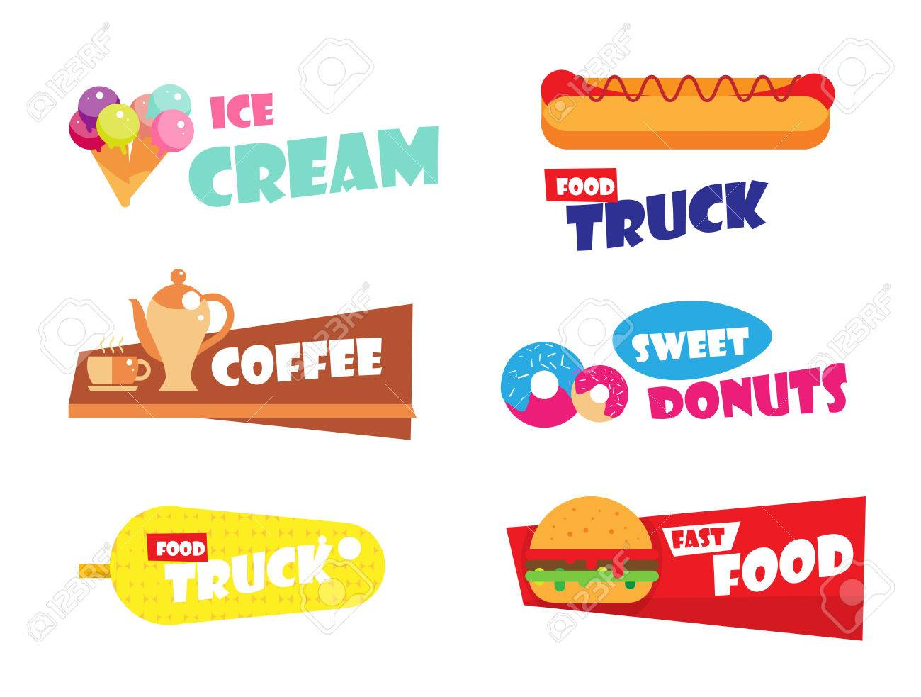 Set Of Ice Cream, Burger, Hot Dog, Fast Food Label For Bakery ...