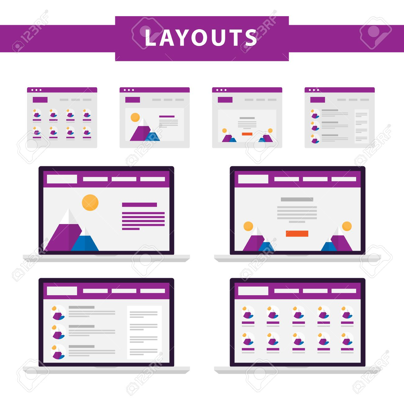 set of simple flat website templates web wireframe vector ux