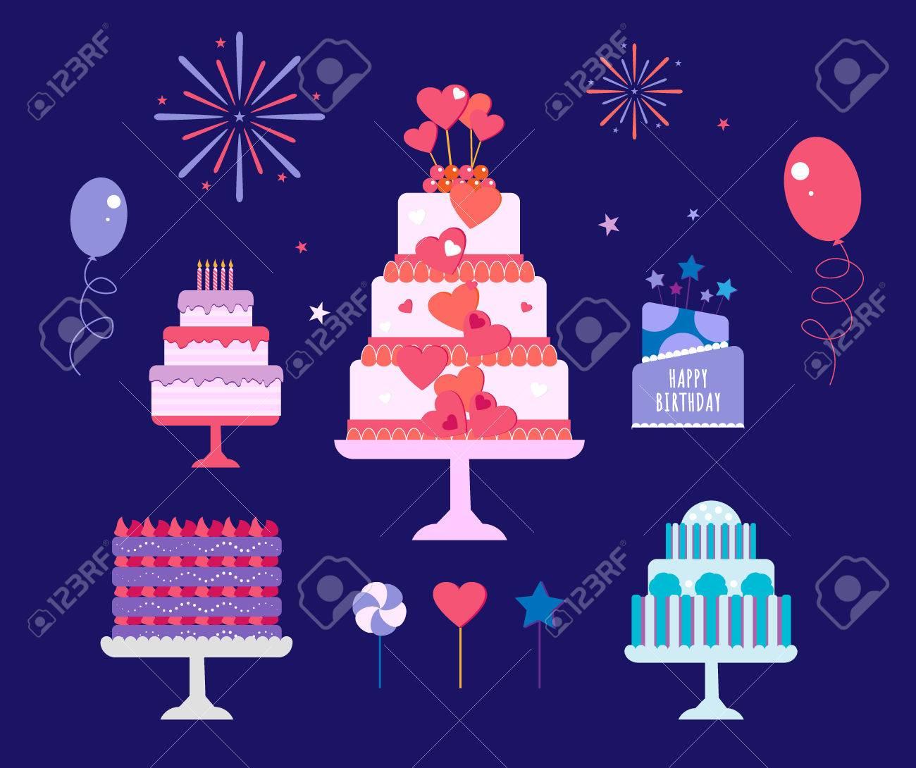 Cakes Set Vector Cake Icon Design Element Birthday Cake Isolated