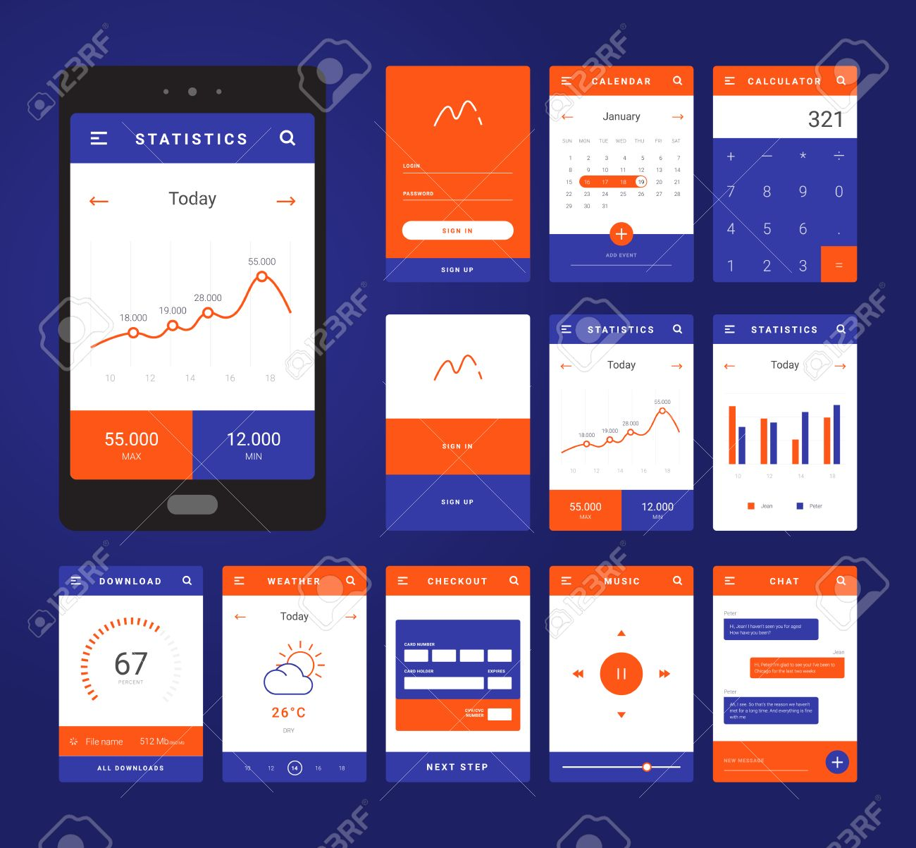 UI, UX And GUI Template Layout For Mobile Apps. Statistic Dashboard ...