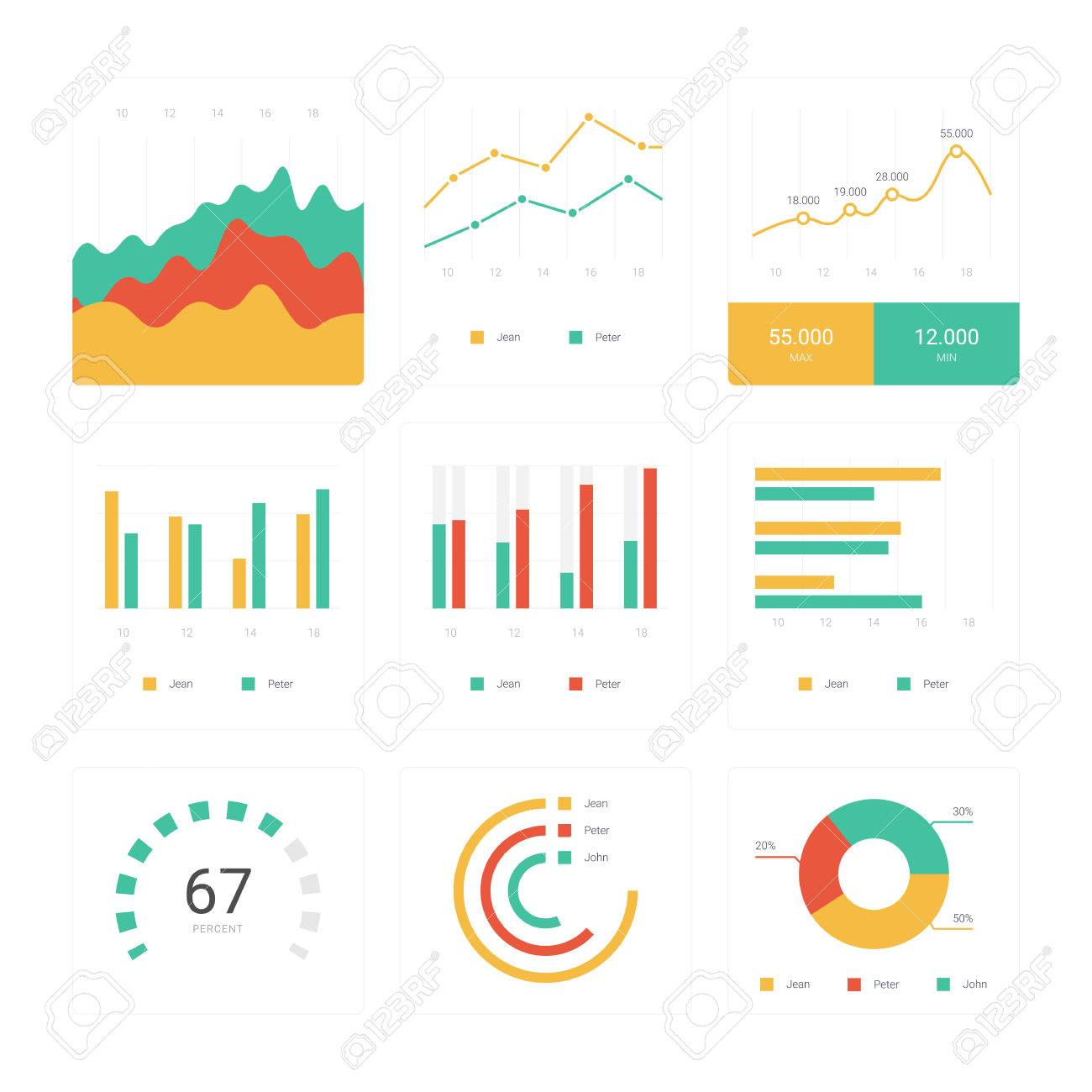 Flat Graph And Chart Set. Colorful Modern Bar And Pie Infographic ...