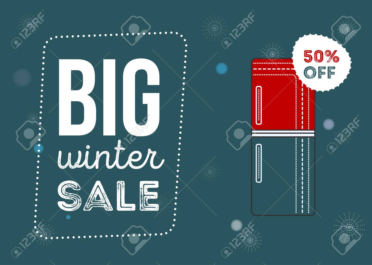 Big Winter Sale Poster. Kitchen Electronics Sale 50 Percent Off ...