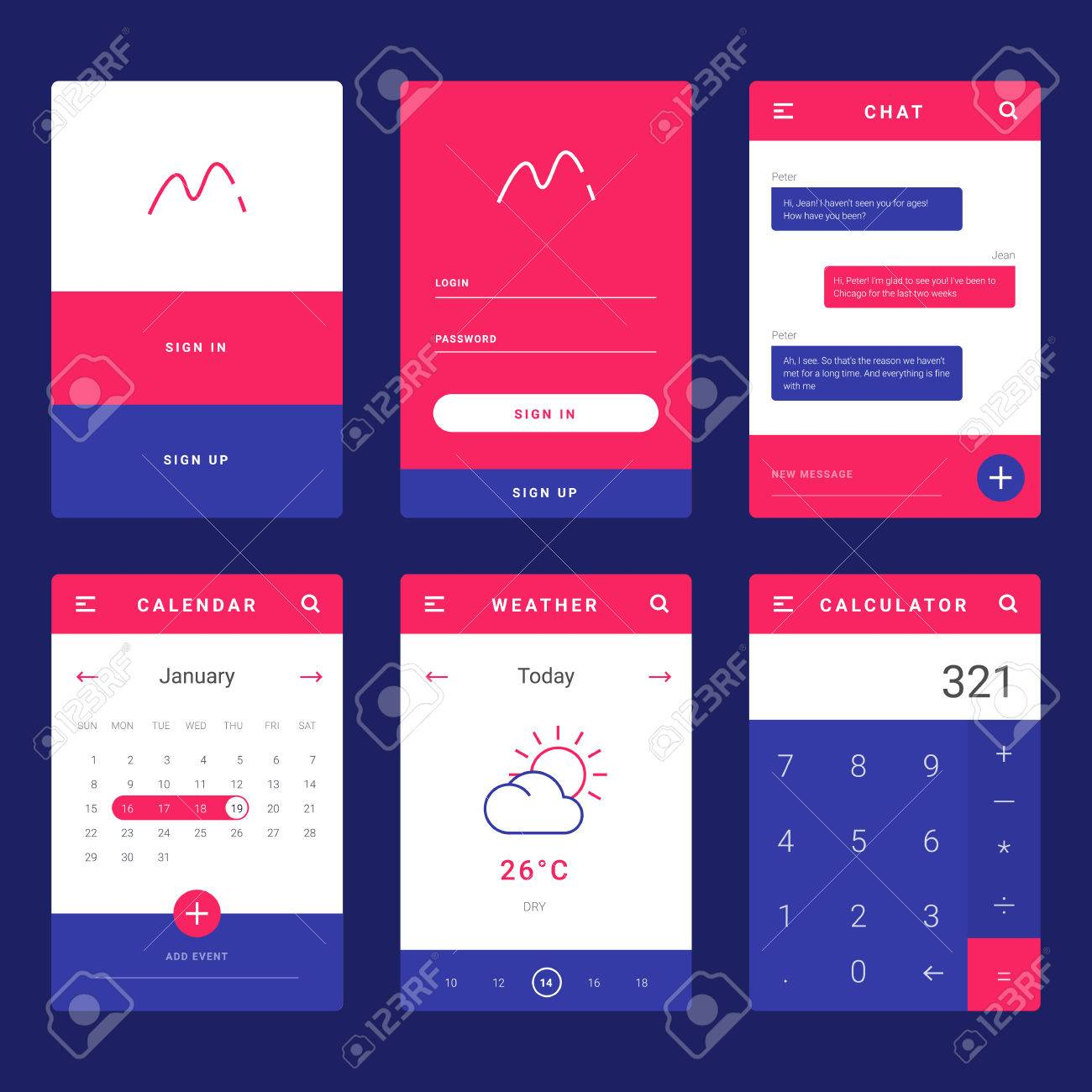 ui ux and gui template layout for mobile apps statistic dashboard