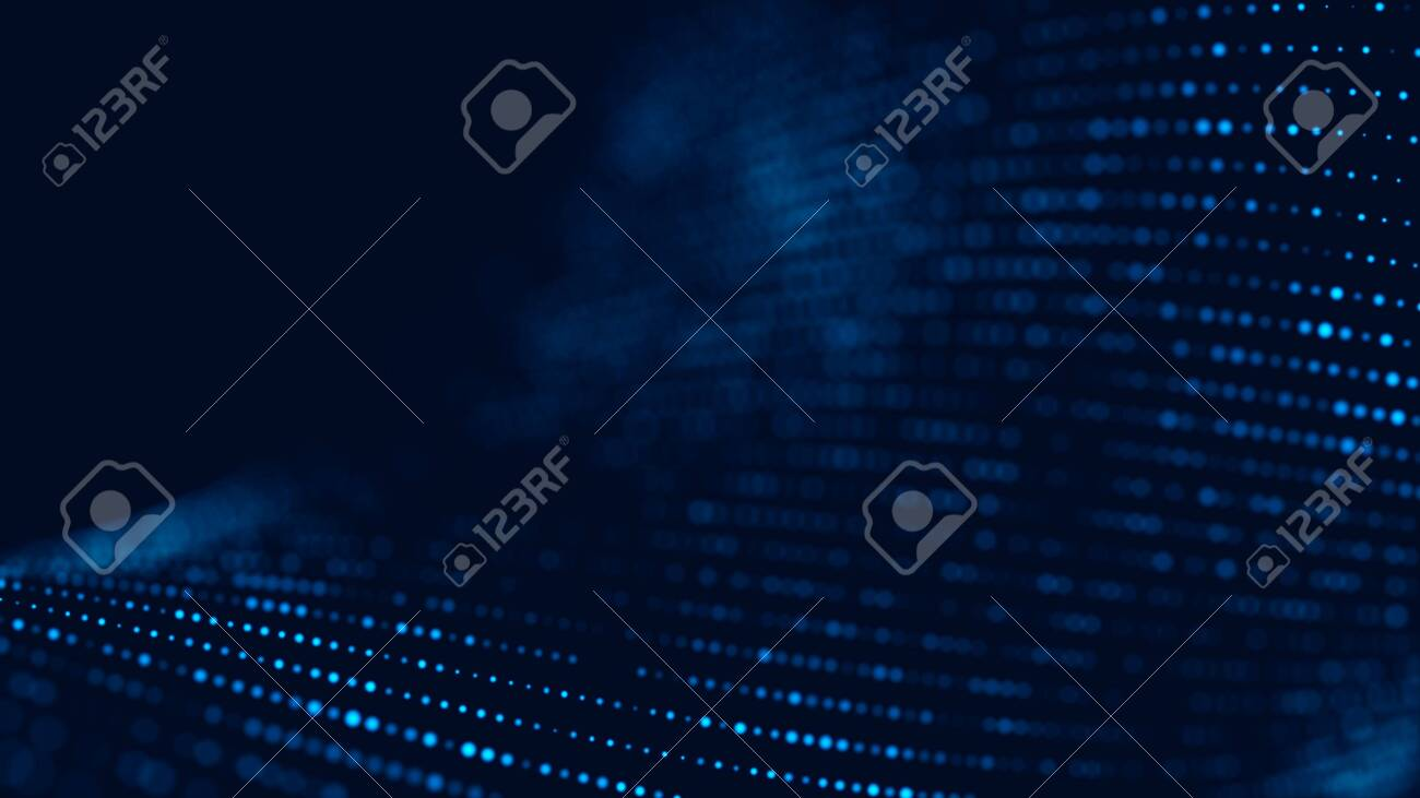 Wave of particles. Abstract background with a dynamic wave. 3d rendering. - 121587500