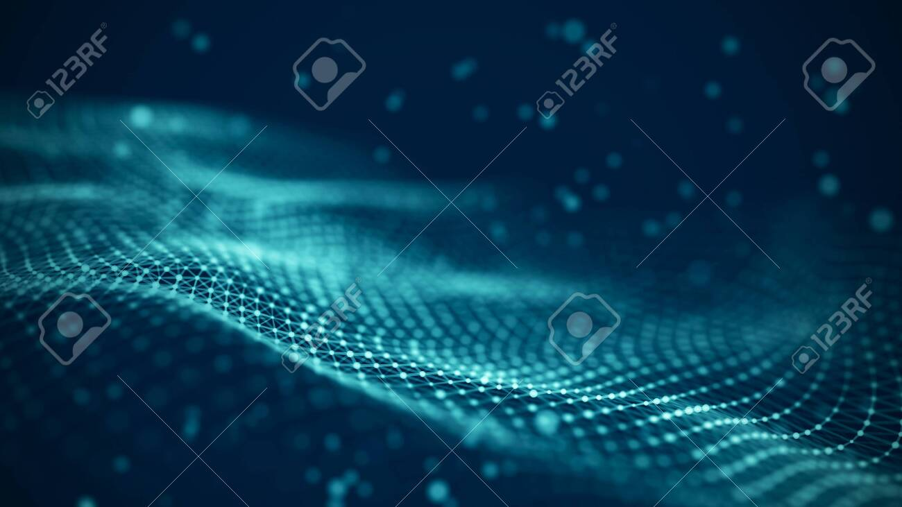 Data technology illustration. Abstract futuristic background. Wave with connecting dots and lines on dark background. Wave of particles. - 121690059