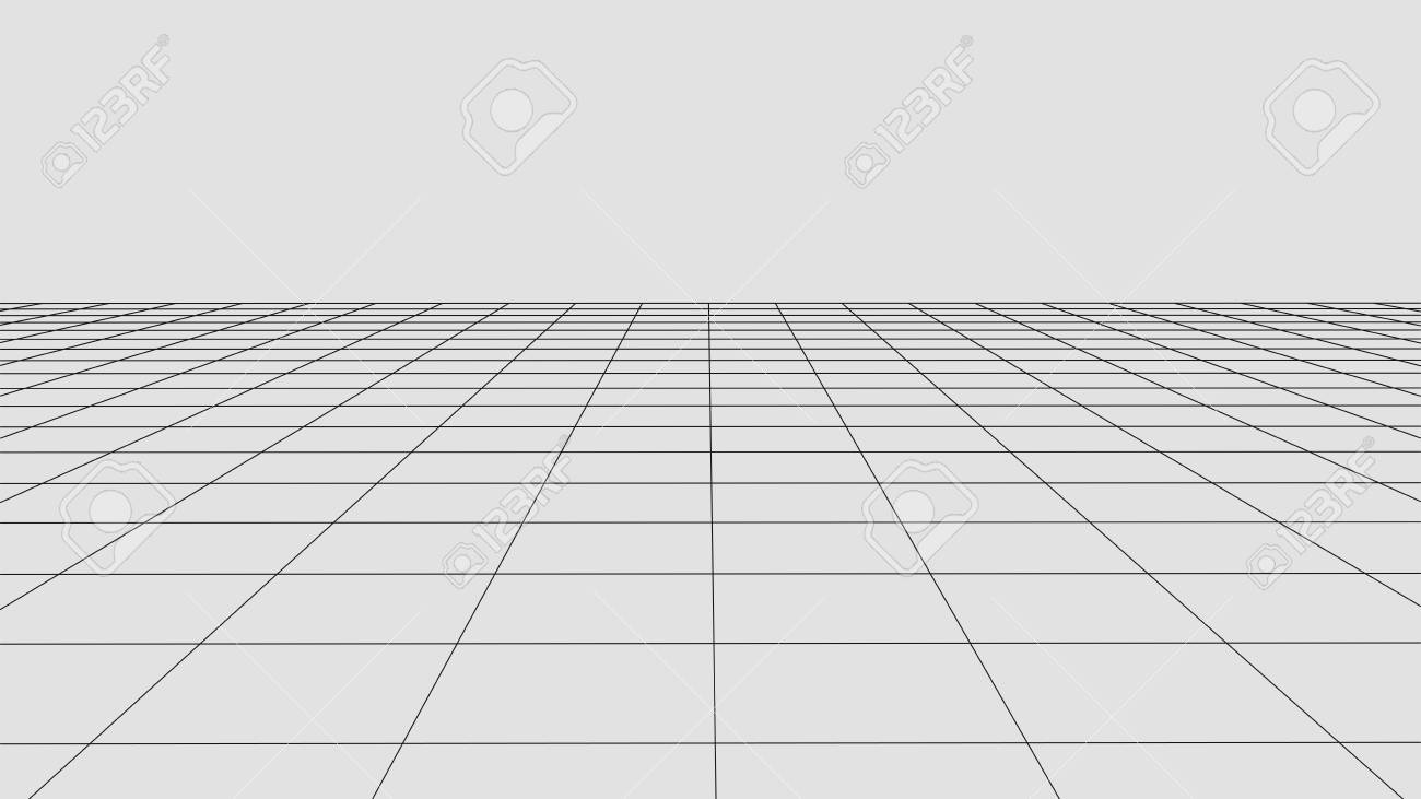 Perspective grid background. Abstract vector wireframe landscape. Abstract mesh background. - 122860722