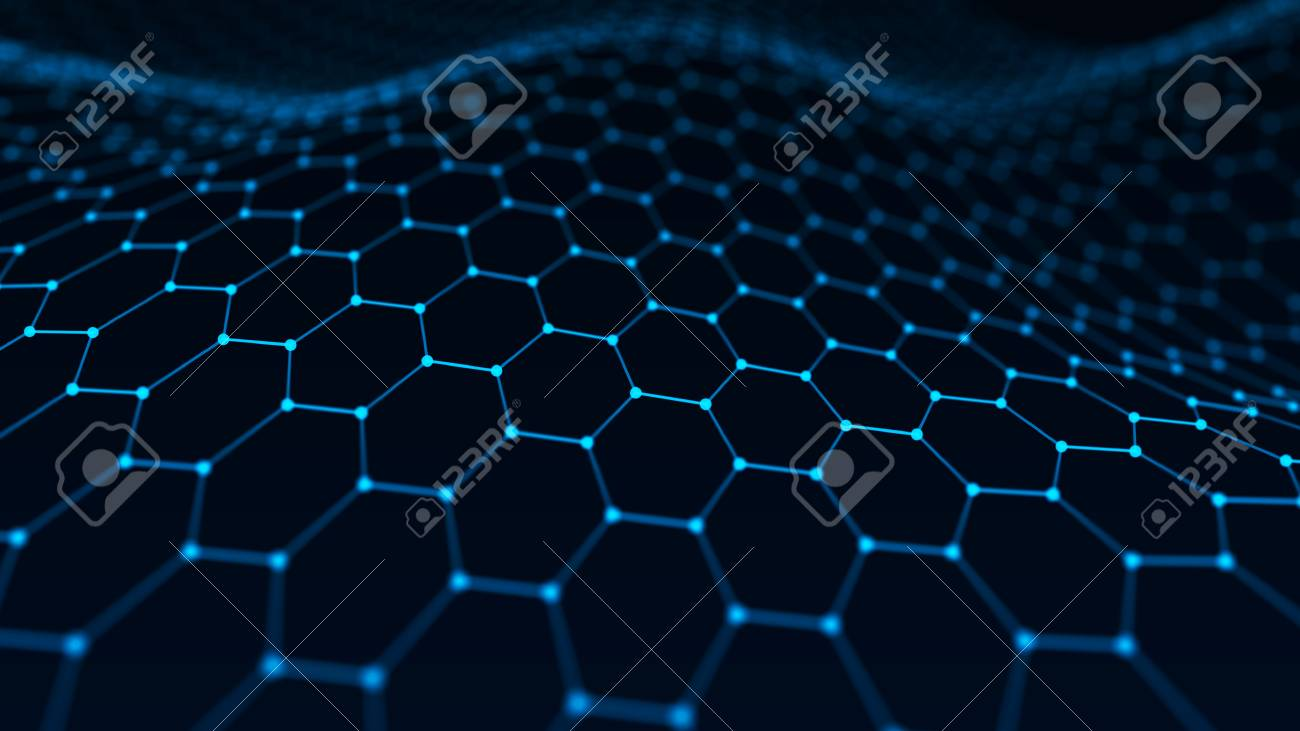 Abstract technology background. Artificial intelligence. Futuristic hexagon perspective background. Big data visualization. 3D rendering. - 121700414