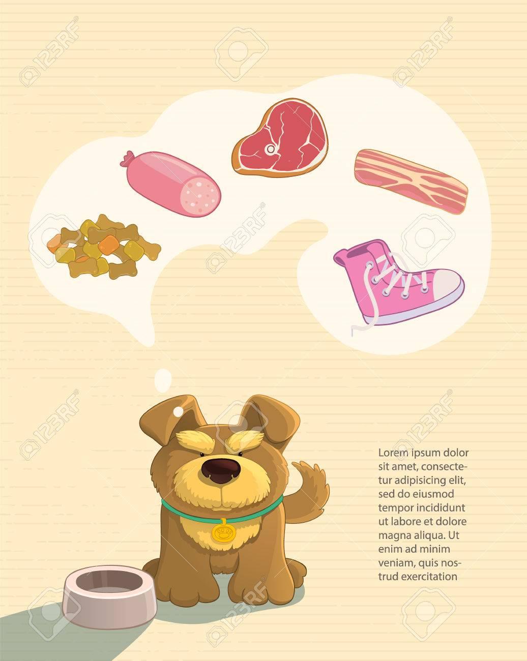 Uw huisdieren dromen. Leuke bruine doggy dromen over eten. Verbeeldt worst, spek, biefstuk, schoenen. Cartoon stijl.