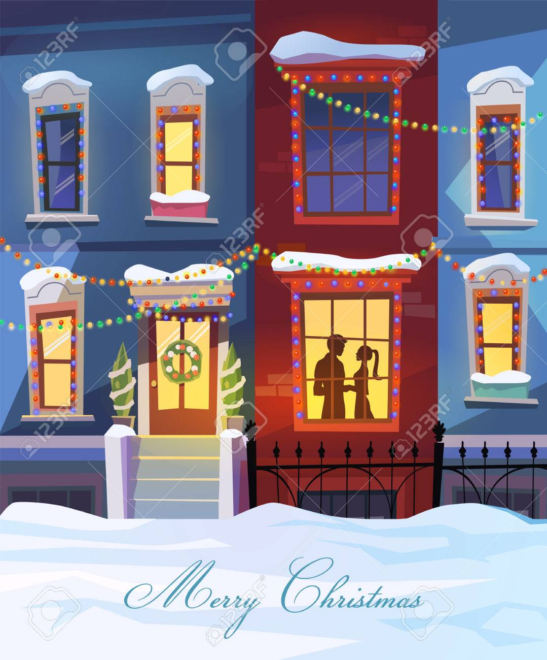 StreetWinter City Street With Christmas Decorated Homes And Couple In Love.  Vector Illustration. Can